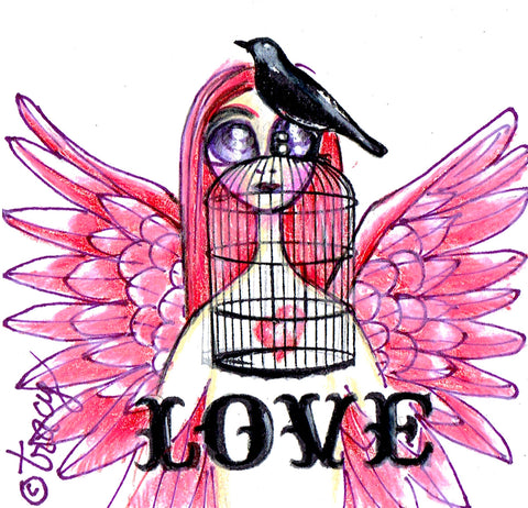 "Folding Card with Envelope-""Love; Red Pink Angel with Black Bird and Birdcage"""