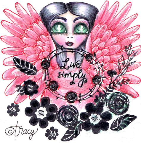 "Folding Card with Envelope-""Live Simply Pink Angel"""
