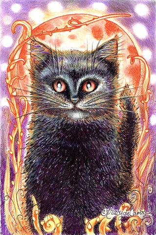 "Folding Card with Envelope-""Black Cat In the Garden and Orange Moon Purple Stars"""