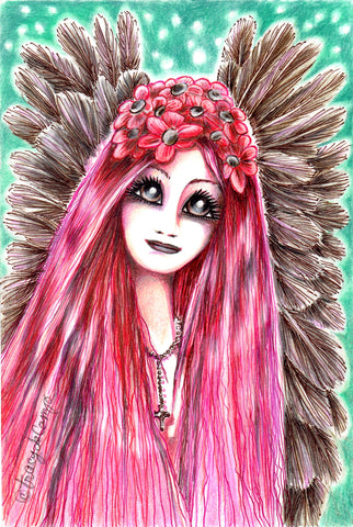 "Folding Card with Envelope-""Pink Hair Brown Winged Angel with Pink Flower Headpiece"""