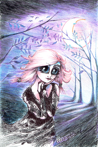"Folding Card with Envelope-""Pink Haired Big Eyed Girl Dashing Through the Woods in Purple Moonlight"""