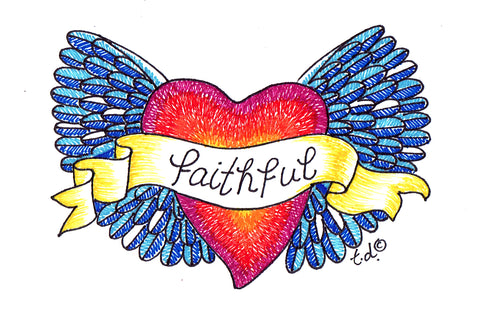 "Art Print -""Blue Faithful Heart Wings"""