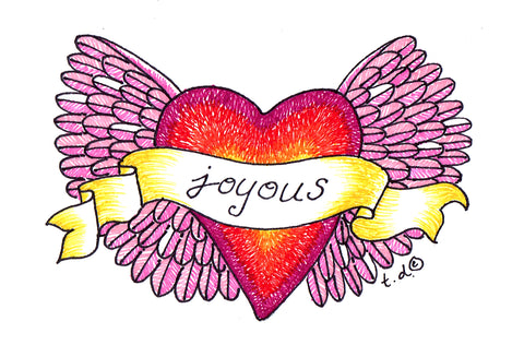 "Art Print -""Pink Wings Joyous Red Heart"""