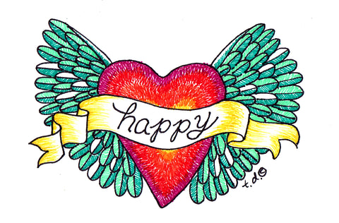 "Art Print with Mat-""Green Happy Heart Wings"""