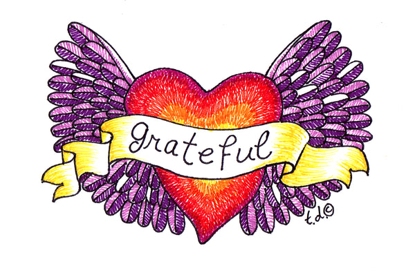 "Art Print with Mat-""Purple Wings Grateful Red Heart"""