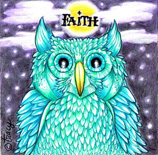 "Folding Card with Envelope-""Faith Green Owl Yellow Moon Stars Clouds"""