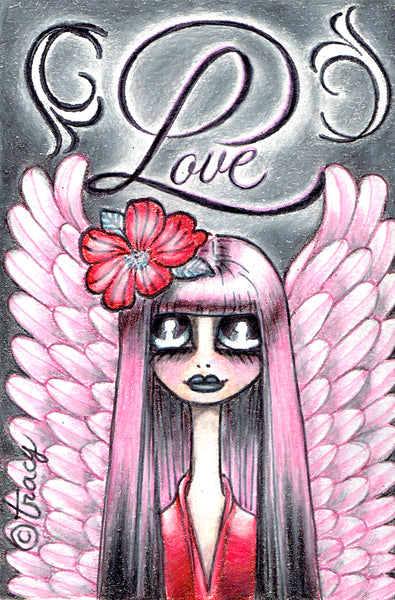 "Folding Card with Envelope-""Pink Angel Love"""