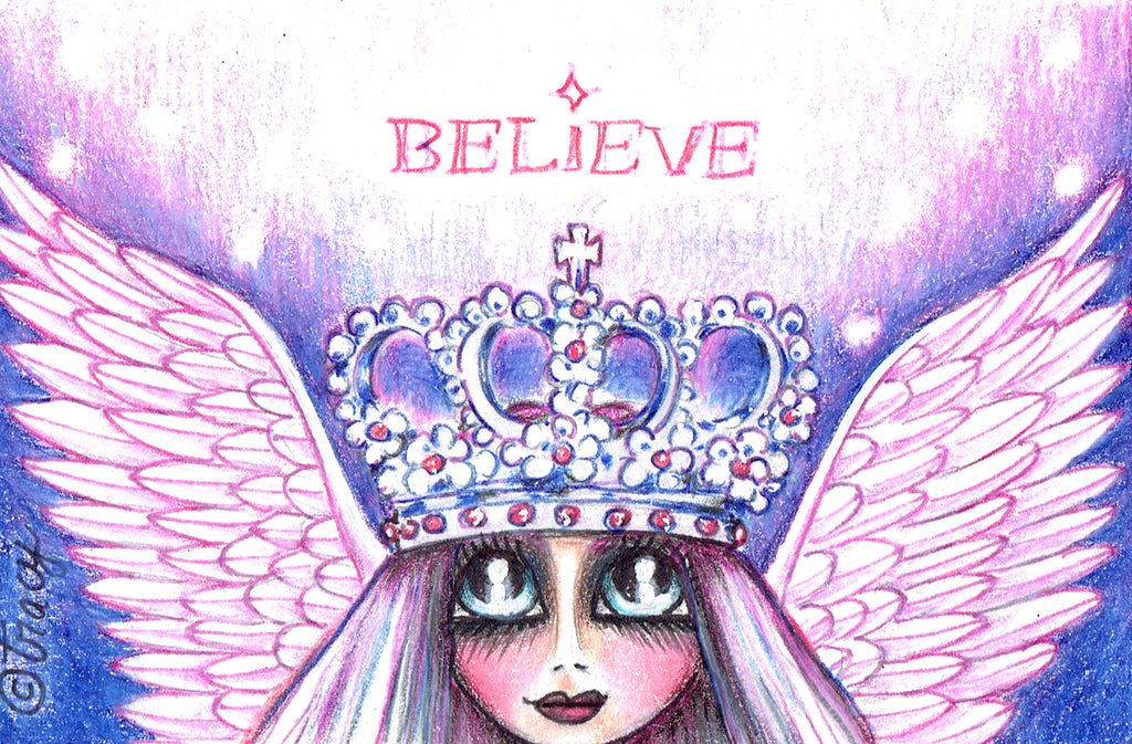 "Folding Card with Envelope-""Believe; Pink Angel Queen"""