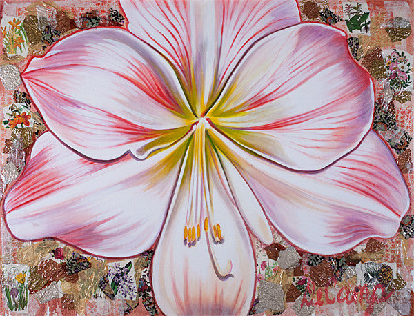 "Small Pink Amaryllis - Oil and mixed media on canvas 60""x50"""
