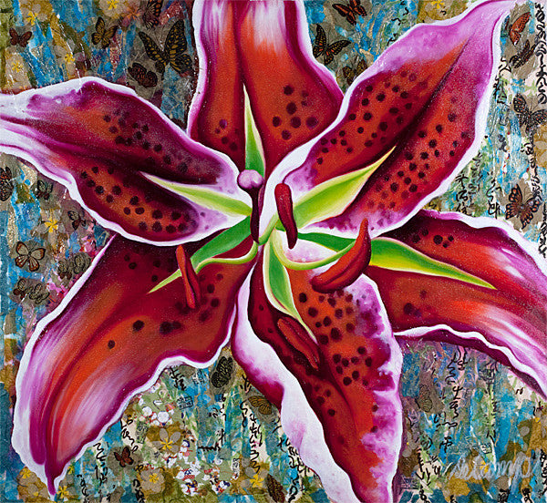"Spotted Red Lily - Oil and mixed media on canvas 40""x40"""