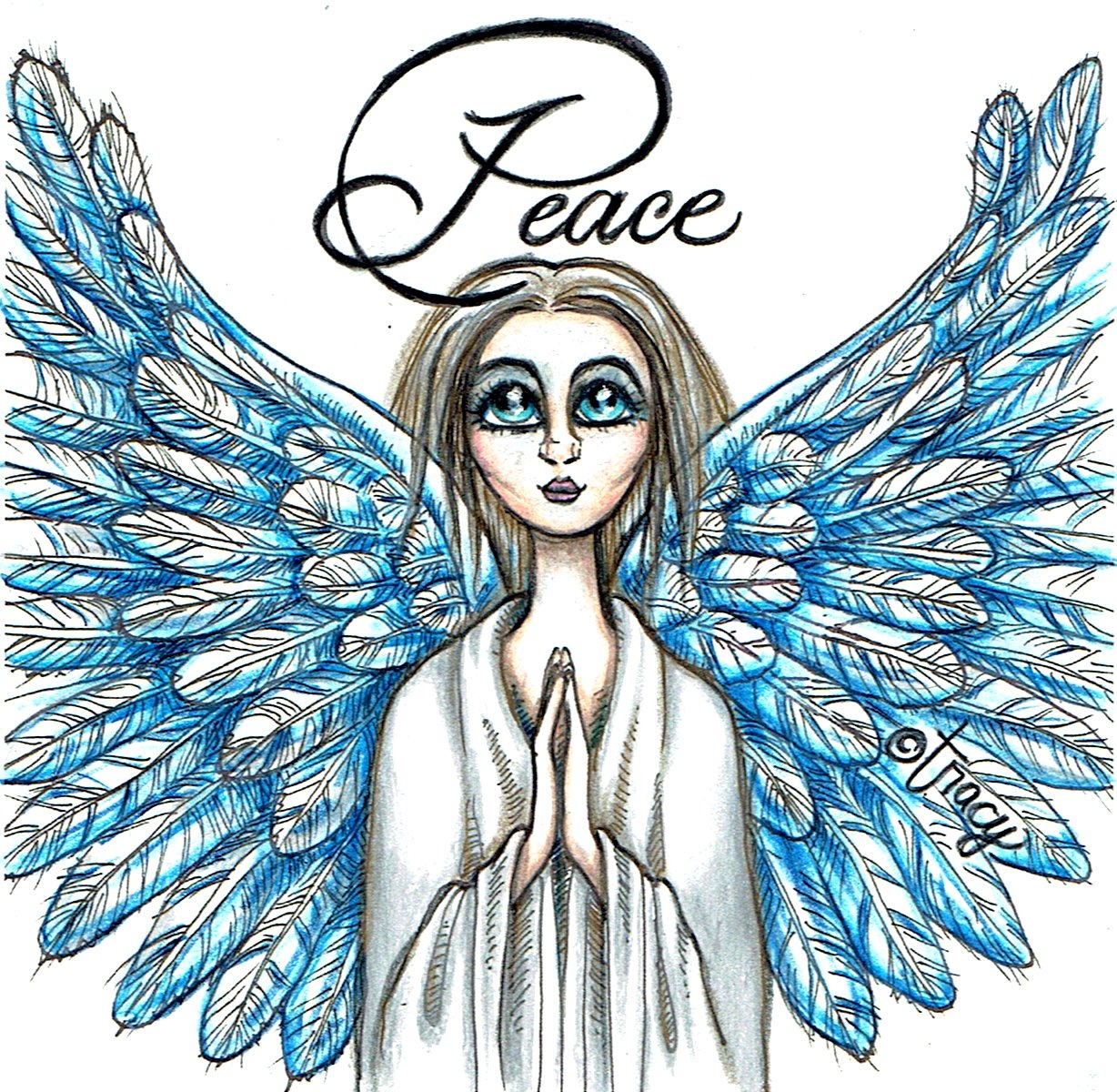 "(c) Tracy DeCamp ""Peace Angel"" color pencil drawing by Tracy"