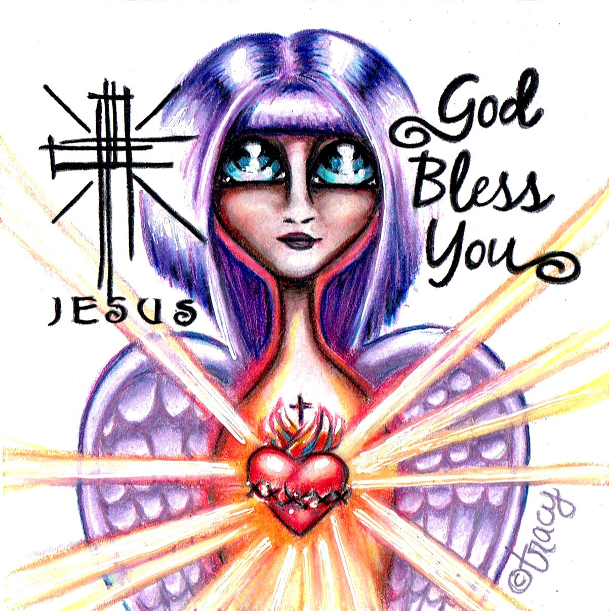 "(c) Tracy DeCamp ""God Bless You"" color pencil drawing by Tracy"