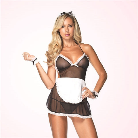 SEDUCTIVE FRENCH MAID WITH WRIST CUFFS AND HEADBAND - ONE SIZE