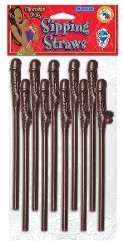 DICKY SIPPING STRAWS BROWN 10 PC.