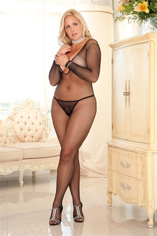 DEEP V LONG SLEEVE FISHNET BODYSTOCKING - BLACK DIVA SIZE