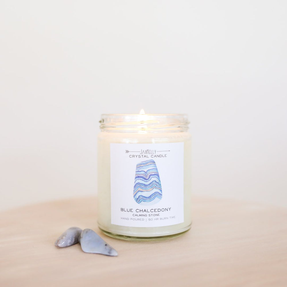 BLUE CHALCEDONY CRYSTAL CANDLE (9oz)