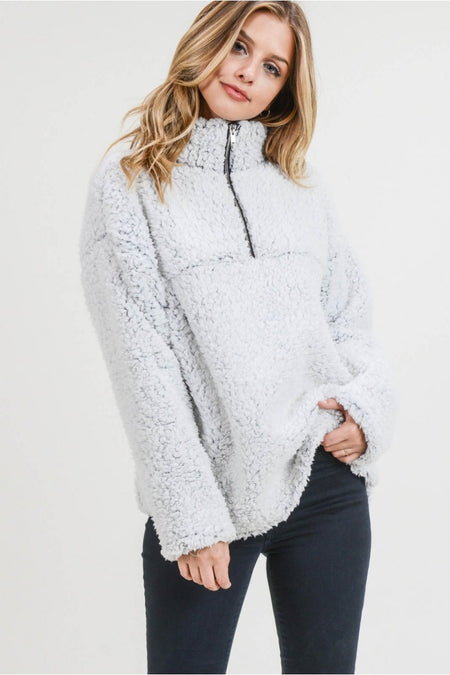 Faux Fur Pullover Zipper Front Top