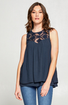 Navy Contrast Lace Detailed Tank