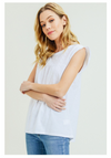 White T-Shirt with Eyelet Contrast