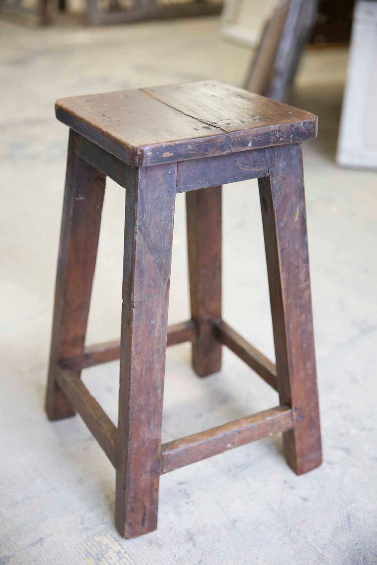 Dark Wooden Square Top Stool