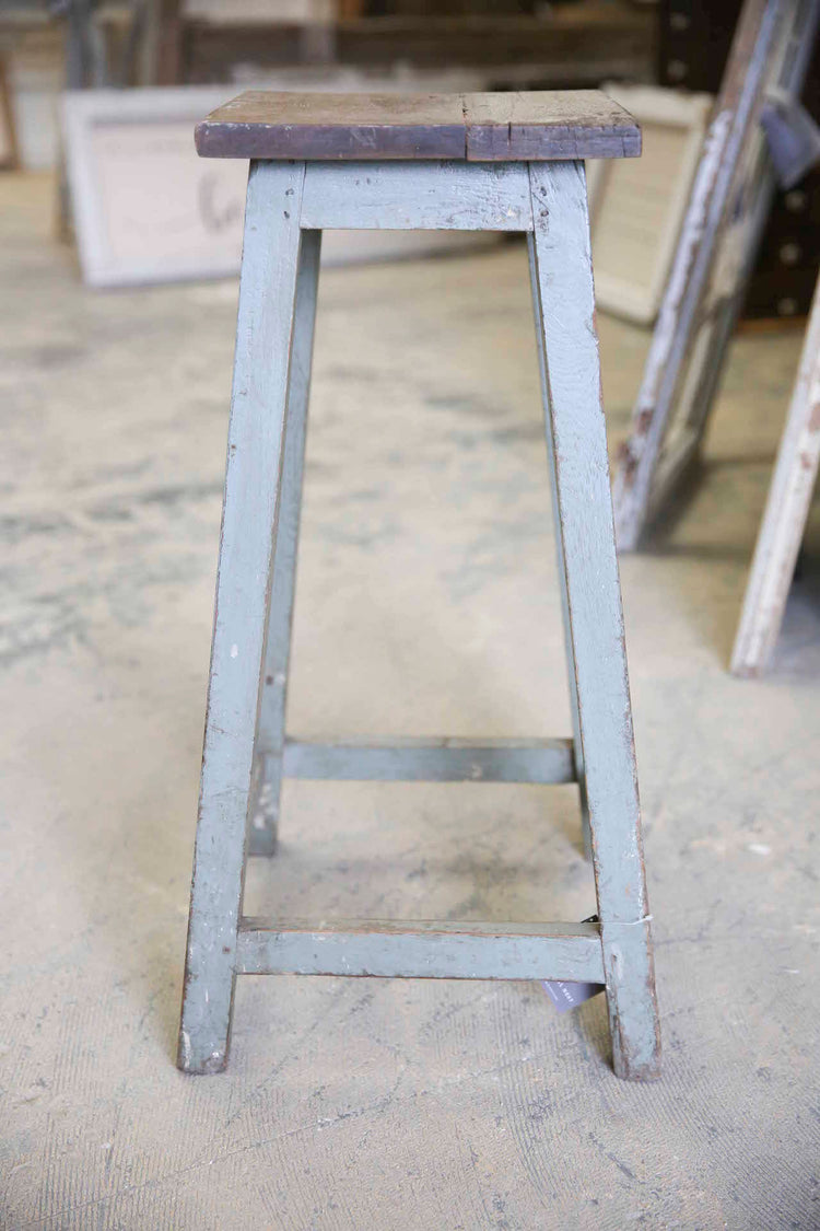 Gray Wooden Square Top Stool