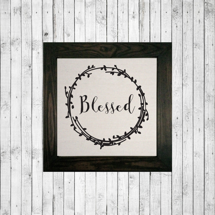 """Blessed"" wreath stained"