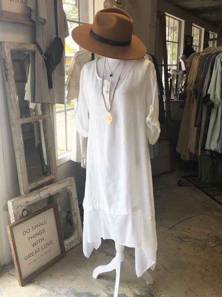 WHITE LINEN LOOSE DRESS