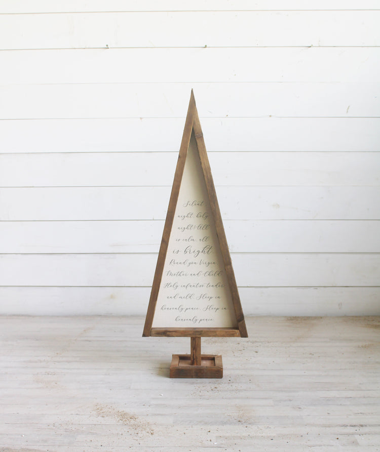 Silent Night Reclaimed Wood Canvas Tree - Large