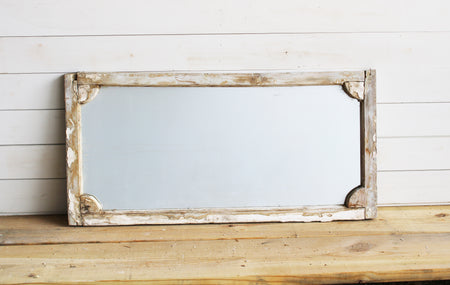 Pickled Reclaimed European Scalloped Corner Mirror