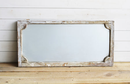 Grayish Reclaimed European Scalloped Corner Mirror