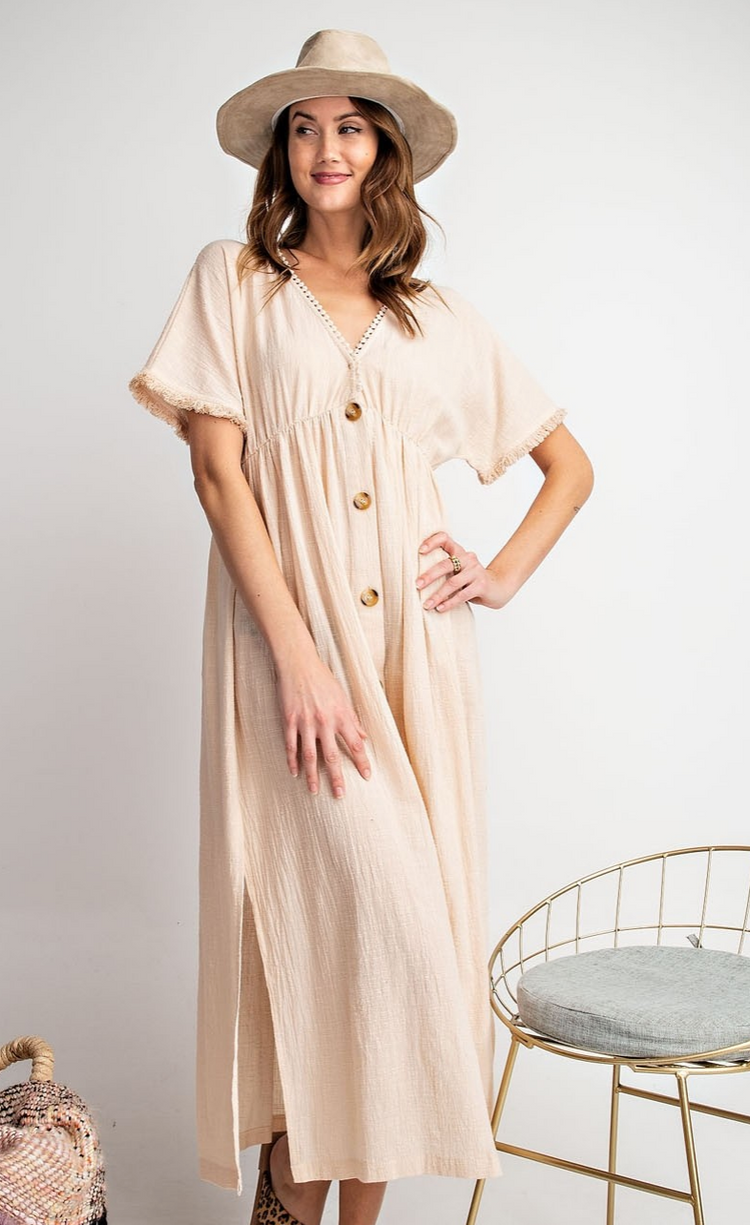 Short Sleeved Gauze Button Down Maxi