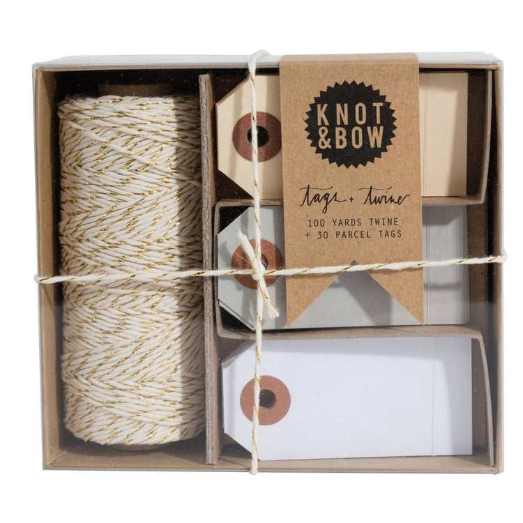 Gold Natural Tag and Twine Box