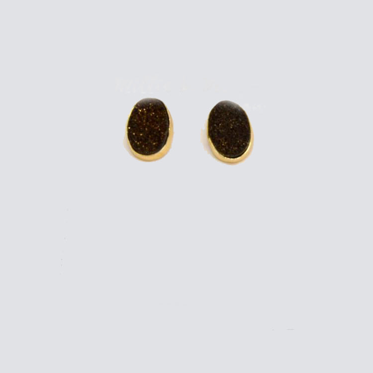 Gold & Black Druzy Stud Earrings