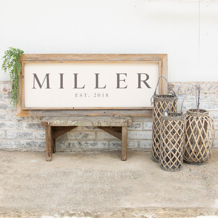 Long Rustic Block Family Name Sign