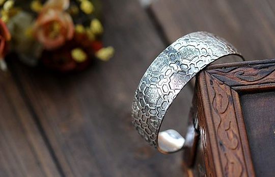 Honey Comb Silver Cuff