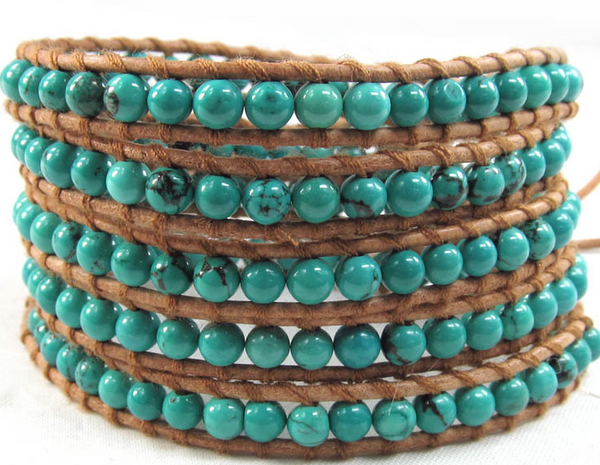 Handmade Leather Turquoise Bracelet