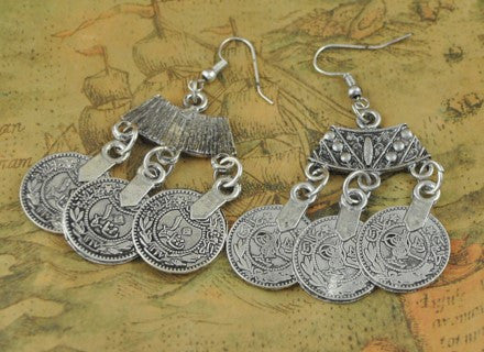Tibetan Silver Coin Earrings