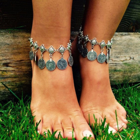 Silver Boho Coin Anklet