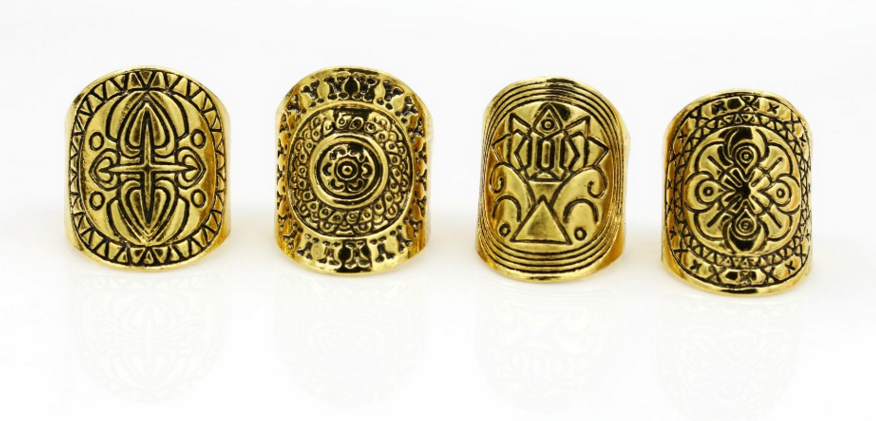 Antique Tibetan ring set