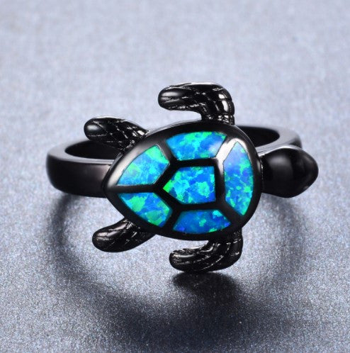 Fire Opal Turtle Ring