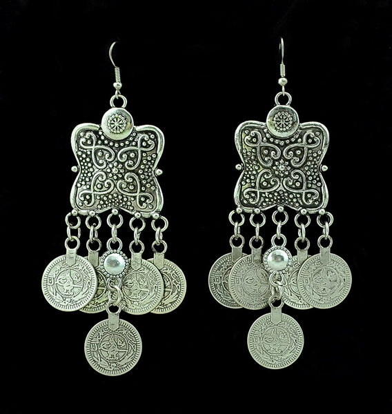 Tibetan Flower Silver Coin Earrings