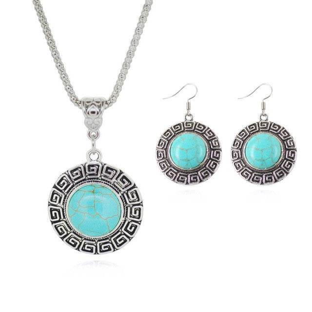 Turquoise Earring And Necklace Set