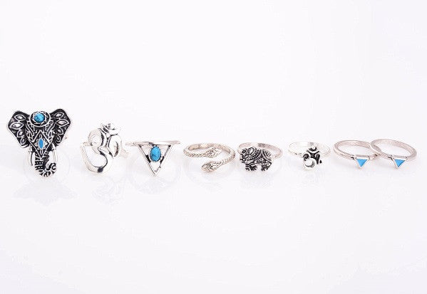 8 Piece Bohmeian Ring set