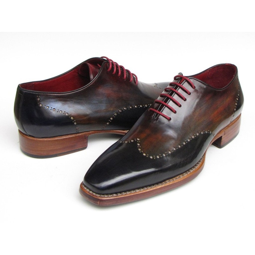 Paul Parkman Men's Wingtip Oxford Goodyear Welted Navy Red Black (ID#081-MIX) - Sorta Stuff