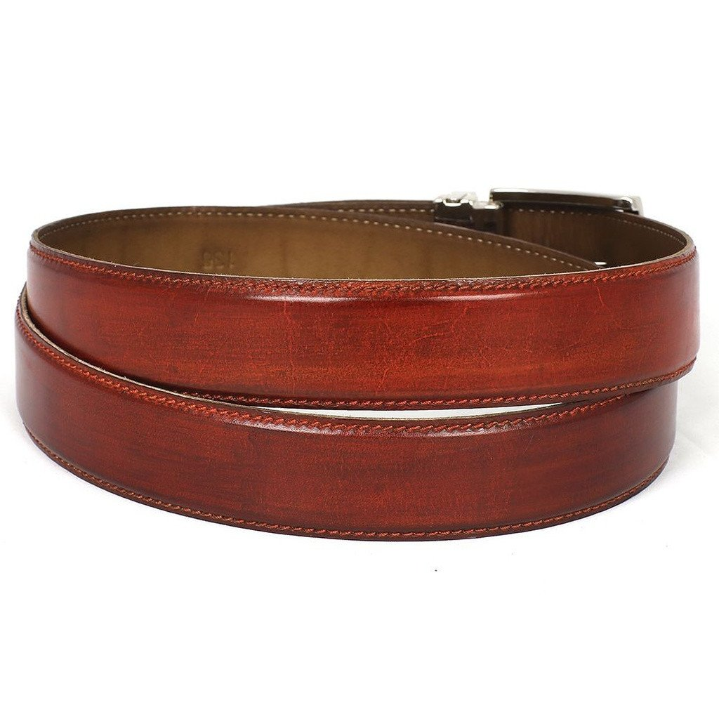 PAUL PARKMAN Men's Leather Belt Hand-Painted Reddish Brown (ID#B01-RDH) - Sorta Stuff