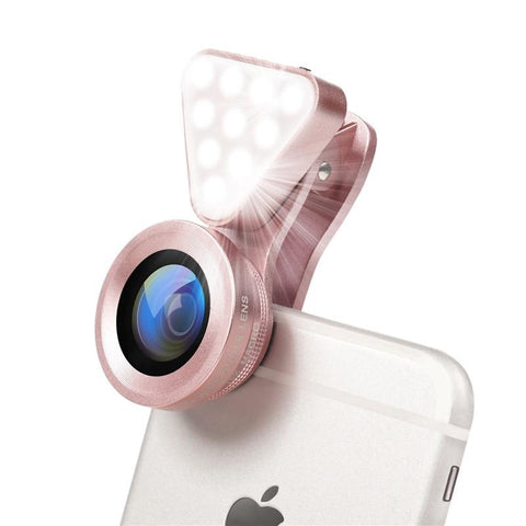 3 in 1 Phone Lens, LED Flish Light Lens For iphone SE X 8 7 6 6S Fish Eye Lens 0.4-0.6X Wide Angle+10X Macro Clip-on Lens