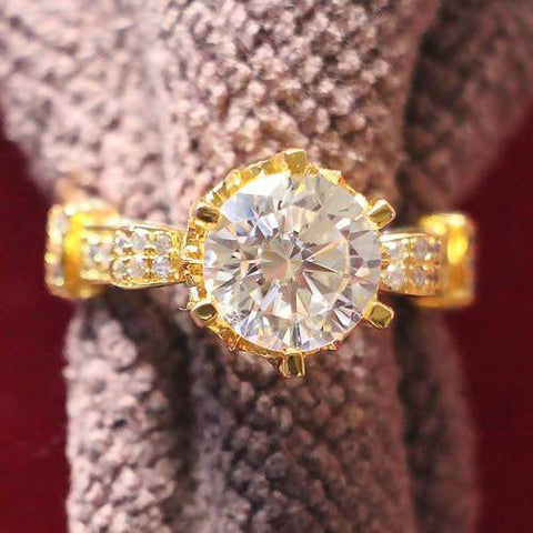 Luxurious 2Ct 8mm G-H Moissanite Ring 925 Sterling Silver Female Ring YELLOW Gold Color CHARLES & COLVARD WARRANTY