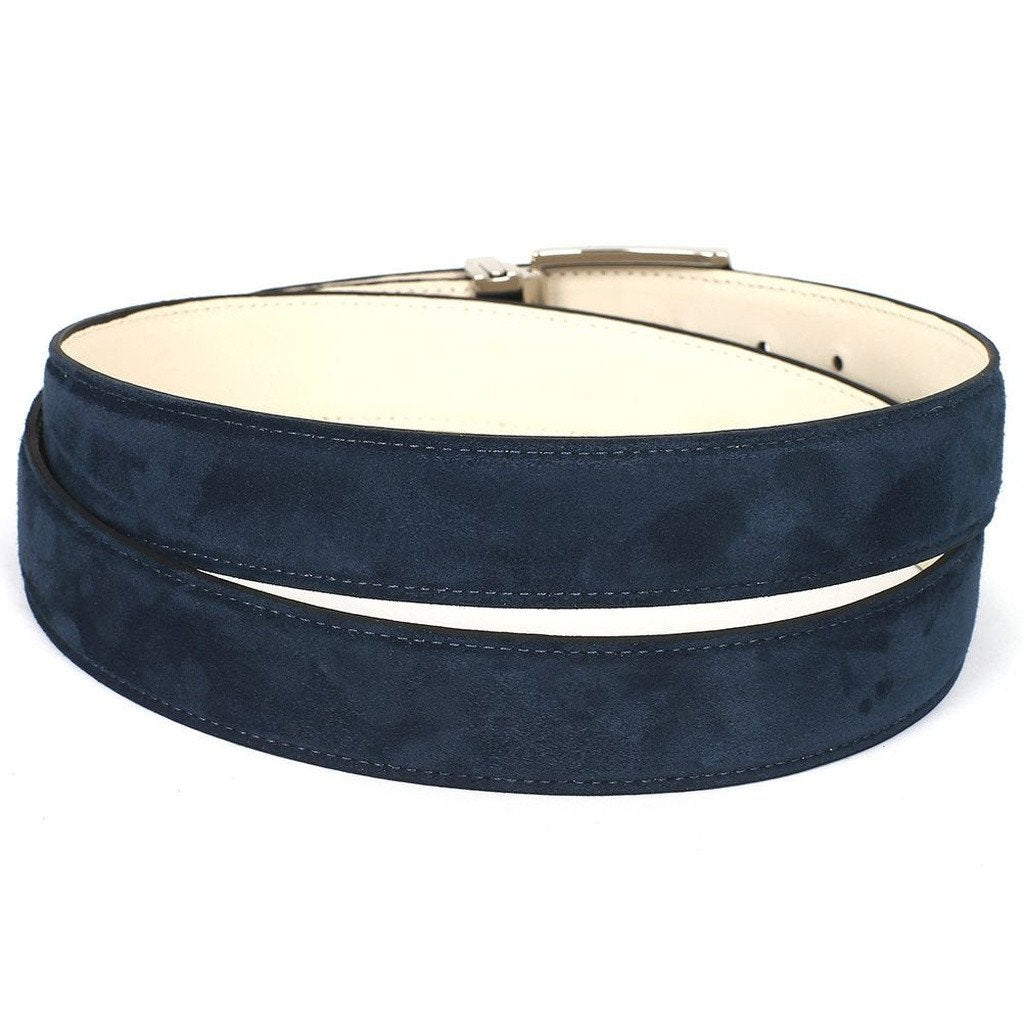 PAUL PARKMAN Men's Navy Suede Belt (ID#B06-NAVY) - Sorta Stuff