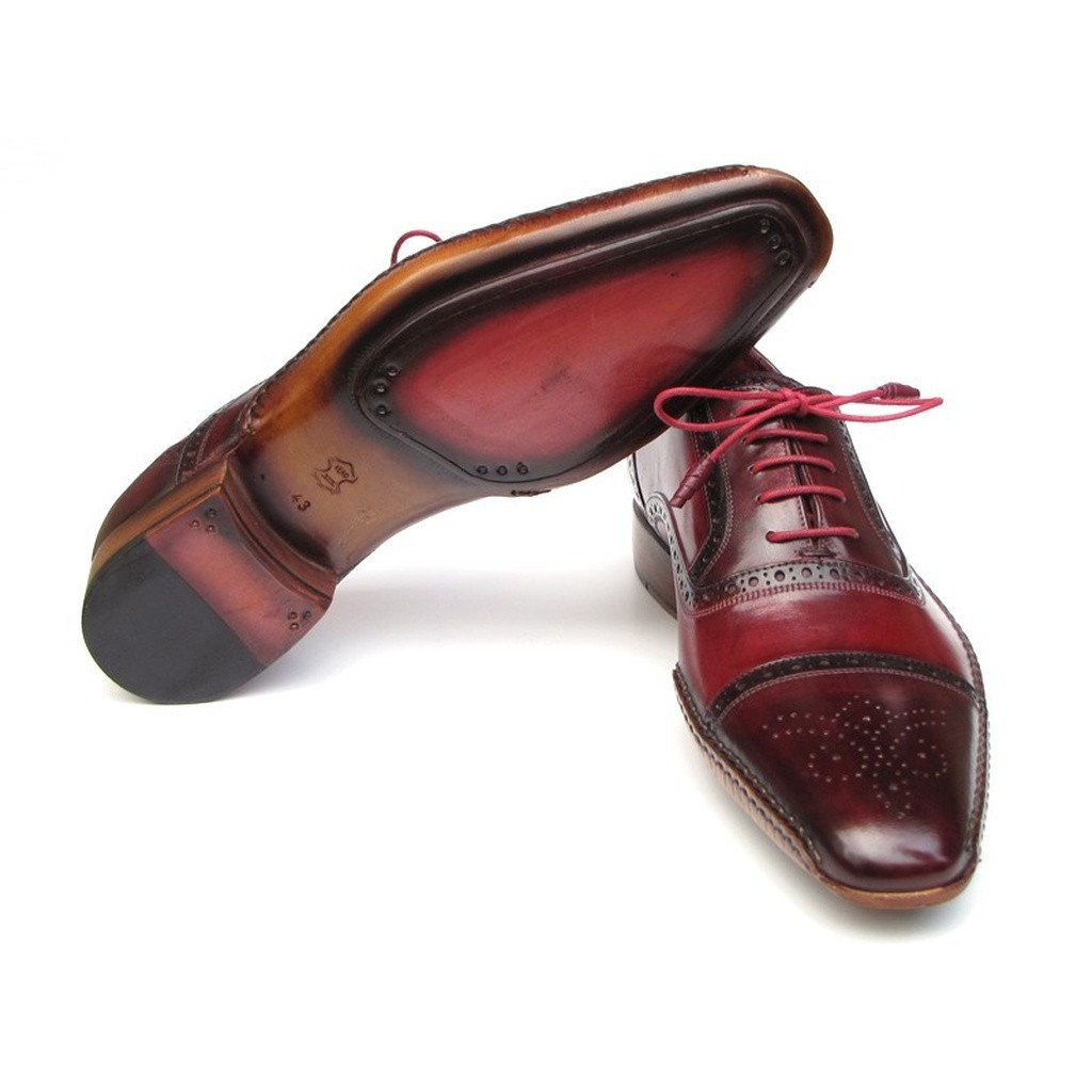 Paul Parkman Men's Side Handsewn Captoe Oxfords - Red / Bordeaux  (ID#5032-BRD) - Sorta Stuff