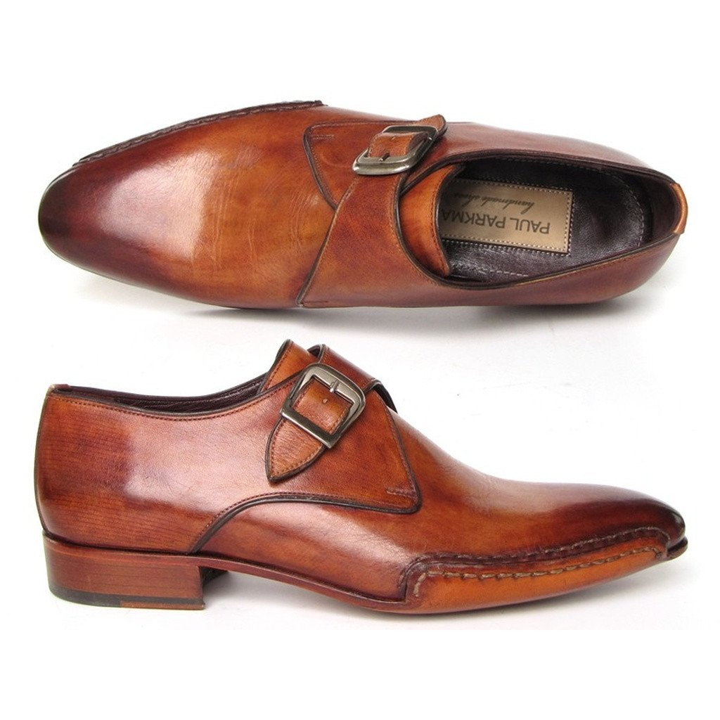 Paul Parkman Men's Monkstrap Shoes Side Handsewn Twisted Leather Sole Tobacco (ID#24Y56) - Sorta Stuff